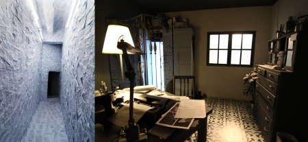 Moving from one installation into another: (from left) Paper Room (2003) and A View with a Room (2009), both by Vertical Submarine