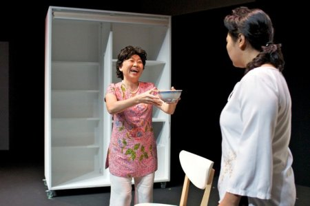 Goh Guat Kian (left) as Mrs Chua with Siti Khalijah (right) as Melly