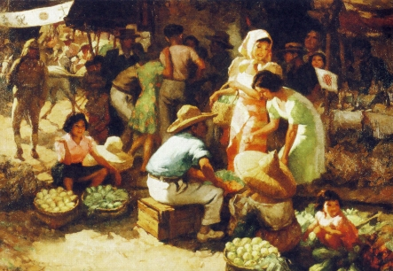 Marketplace during the Occupation (1942), Fernando Cueto Amorsolo, Philippines, Oil on canvas, Collection of National Heritage Board, Singapore