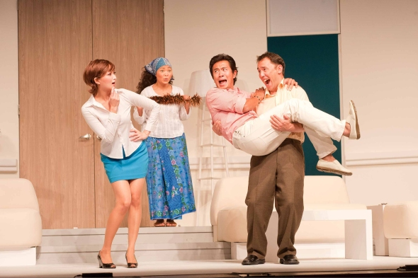 The ensemble cast delivers excellent farce and physical comedy.