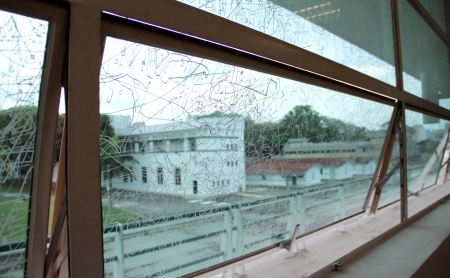 Frost Drawing for Kallang (2011), Gosia Wlodarczak, Performative drawing, pigment marker on glass