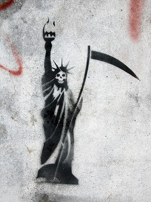 A stencil on concrete graffiti piece by the Buenos Aires-based Cam BsAs, created to mark George W. Bush's visit to the city in 2006